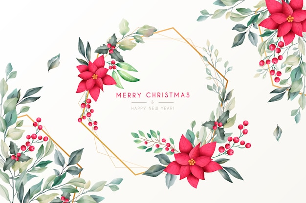 Hermoso fondo de navidad con naturaleza acuarela