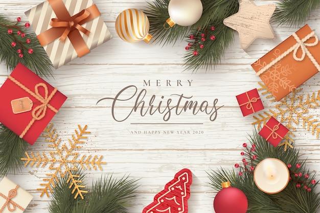 Hermoso fondo de navidad con regalos y adornos