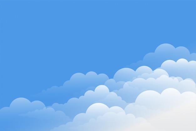 Hermoso fondo de nubes con diseño de cielo azul