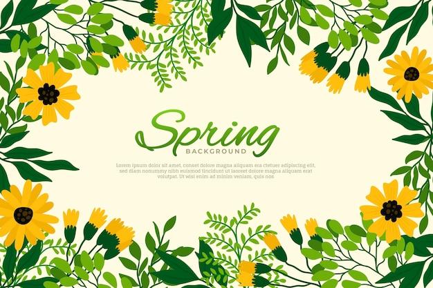 Hermoso fondo de pantalla de primavera de diseño plano con flores