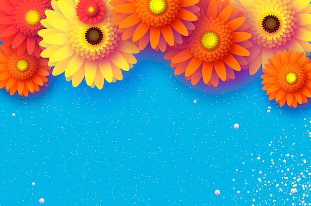 Hermoso fondo de papercut de flores de gerbera
