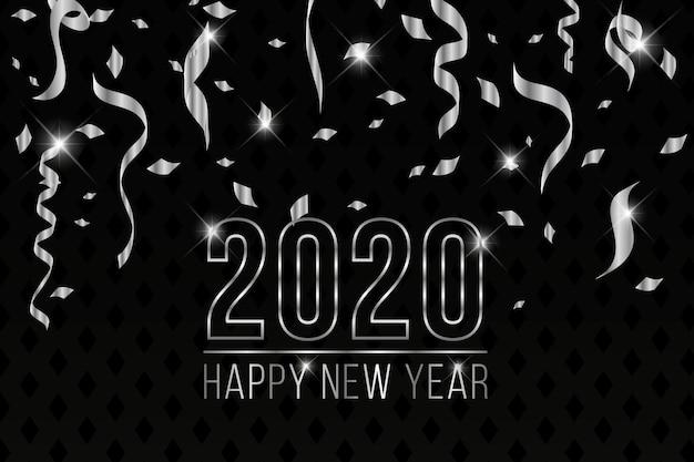 Hermoso fondo de plata año nuevo 2020