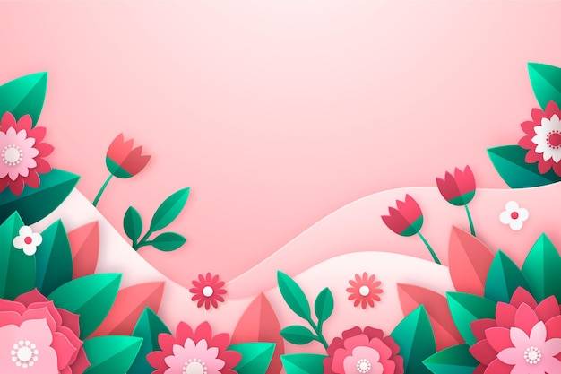 Hermoso fondo de primavera en estilo papel