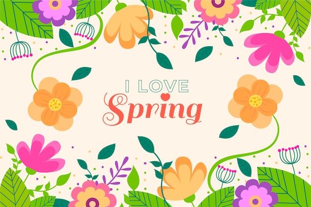 Hermoso fondo de primavera plana con flores