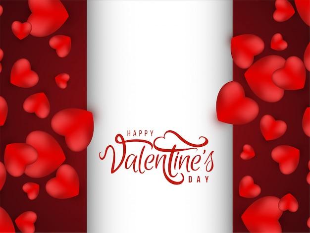 Hermoso fondo rojo con corazones de san valentín