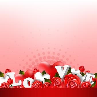 Hermoso fondo romántico con rosas rojas y hojas. diseño de arreglos florales