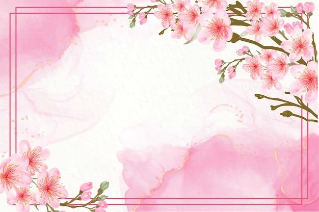 Hermoso fondo rosa acuarela floral con flores de cerezo