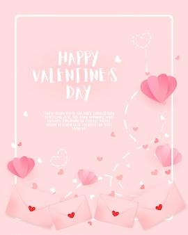 Hermoso fondo rosa con globos de corazón y formas.