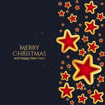 Hermoso fondo de tarjeta de navidad con estrellas brillantes