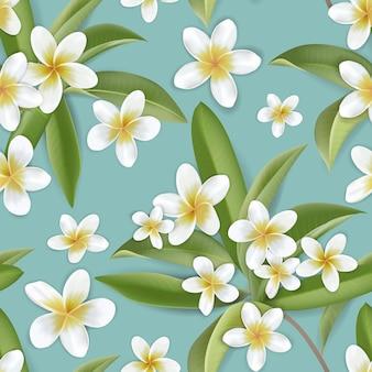 Hermoso fondo transparente de flores de plumeria retro, patrón floral de la selva tropical en diseño de ilustración vectorial para tela de moda, estampados, textiles, papel tapiz