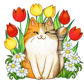 Hermoso gatito acuarela en un jardín de tulipanes y margaritas