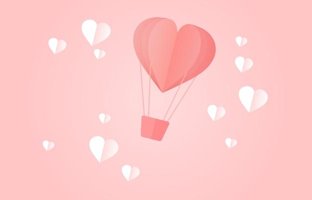 Hermoso globo hecho de corazones de papel ilustración