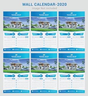 Hermoso gradiente calendario de pared 2020