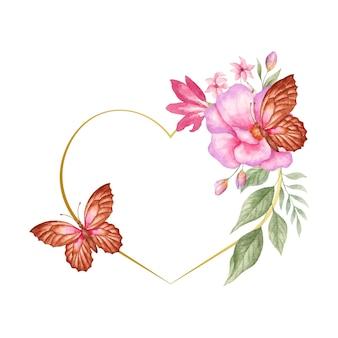Hermoso hermoso marco de corazón de flor de primavera acuarela