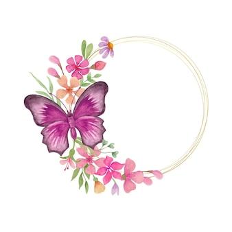 Hermoso hermoso marco de flores de primavera en acuarela
