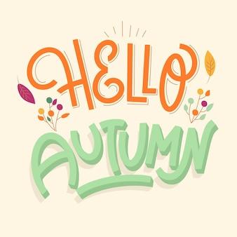 Hermoso hola otoño letras con hojas