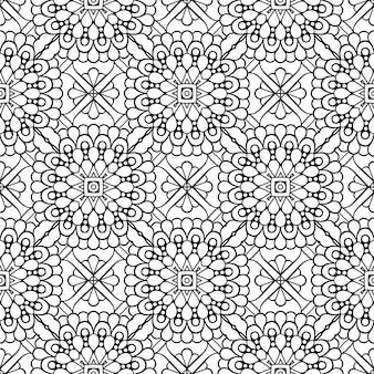 Hermoso indio tradicional de patrones sin fisuras en blanco y negro