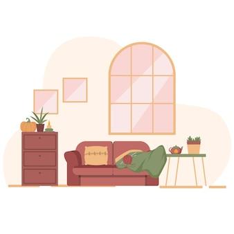 Hermoso interior de casa inspirado en el otoño