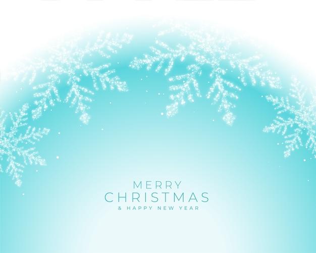 Hermoso invierno copos de nieve congelados saludo de navidad