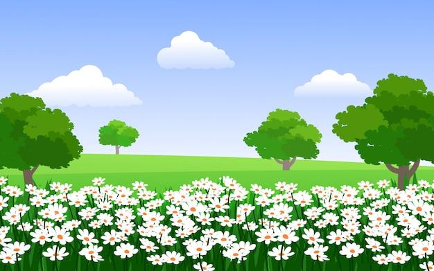 Hermoso jardín de flores con árboles
