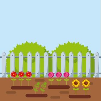 Hermoso jardín con flores creciendo