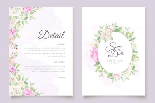 Hermoso juego de tarjetas de invitación de boda con flores y hojas suaves