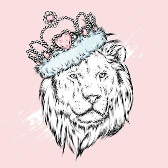 Un hermoso león en una corona. ilustración.