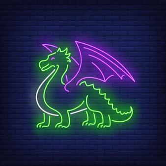 Hermoso letrero de neón del dragón