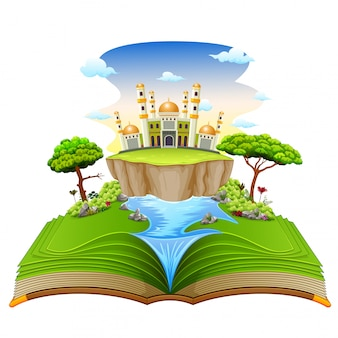 El hermoso libro de cuentos con la hermosa mezquita y el río.