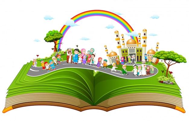 El hermoso libro de cuentos con los musulmanes en él.