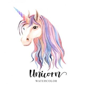 Hermoso lindo. cabeza de acuarela unicornio