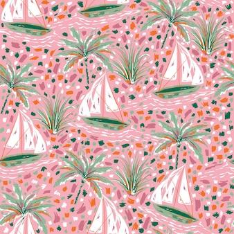 Hermoso y lindo pincel de pintura a mano trazos de veleros y palmera vector de patrones sin fisuras