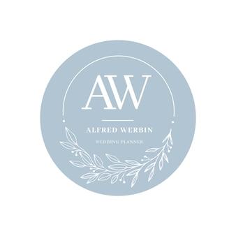 Hermoso logo de boda en diseño plano