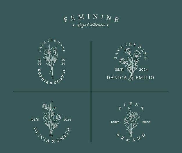 Hermoso logotipo botánico dibujado a mano con conjunto de colección de insignias