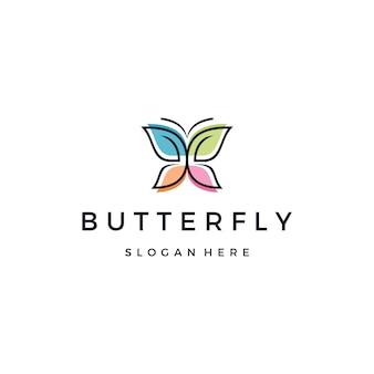 Hermoso logotipo de mariposa o monarca