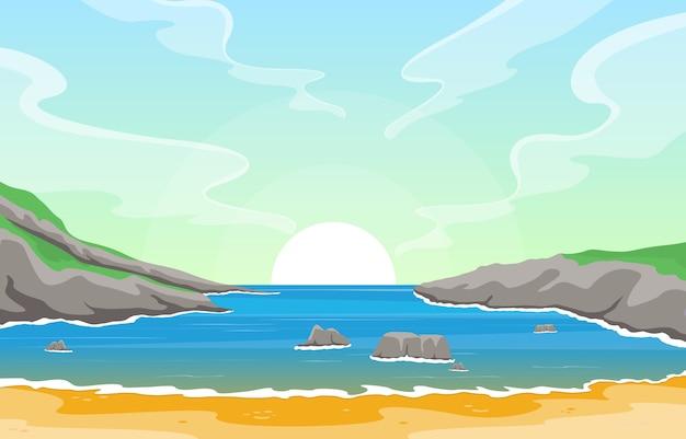Hermoso mar panorama playa costa bahía océano paisaje ilustración