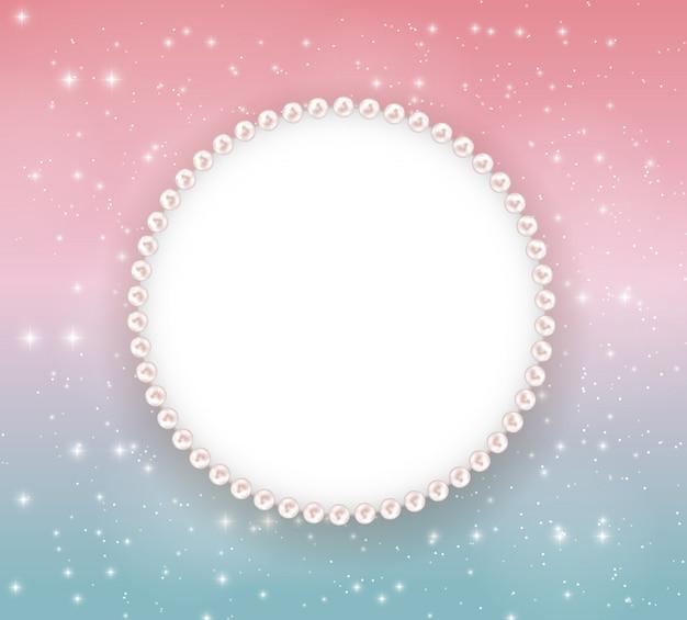 Hermoso marco abstracto con marco de perlas.