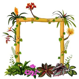 Hermoso marco botánico de madera con la flor.