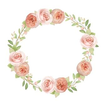 Hermoso marco de corona con rosas de jardín florales