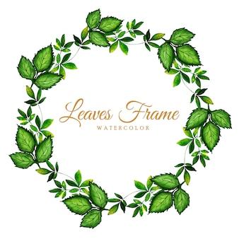 Hermoso marco de hojas de acuarela