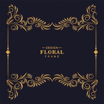 Hermoso marco decorativo dorado floral diseño artístico.