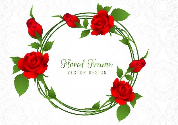 Hermoso marco de flor rosa roja