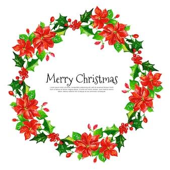 Hermoso marco floral de acuarela de navidad