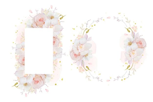 Hermoso marco floral con acuarela rosa orquídea rosa y flor de anémona