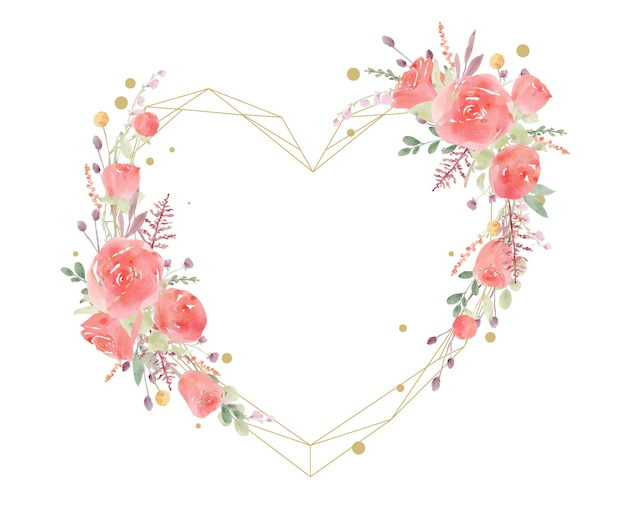 Hermoso marco floral con acuarela rosa roja