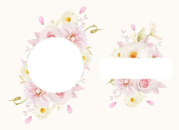 Hermoso marco floral con acuarela rosas rosadas dalia y peonía blanca