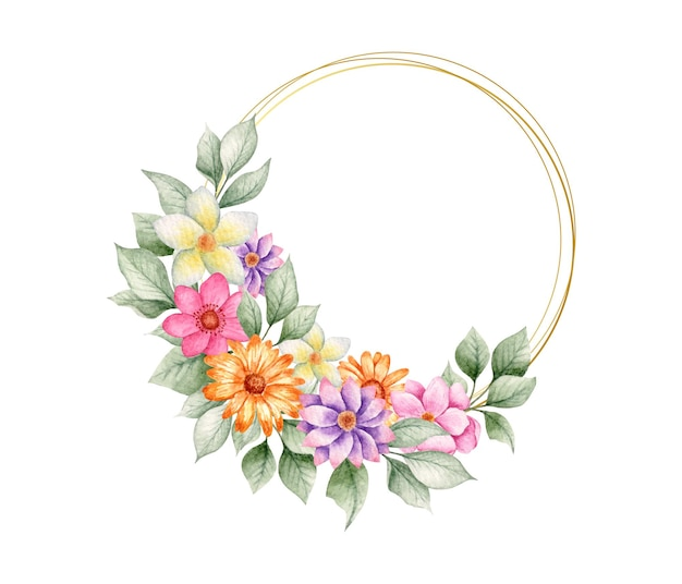 Hermoso marco floral acuarela de san valentín