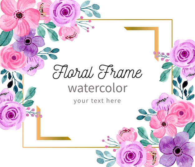 Hermoso marco floral con acuarela