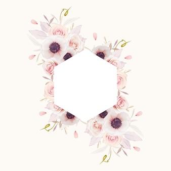 Hermoso marco floral con acuarelas rosas rosadas y flor de anémonas