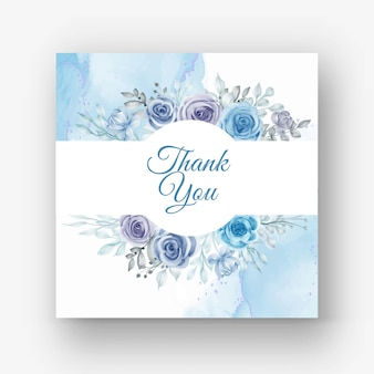 Hermoso marco floral para boda con flor acuarela azul